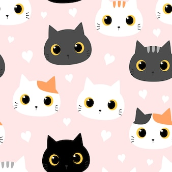 Cute cat kitten with heart cartoon doodle seamless pattern