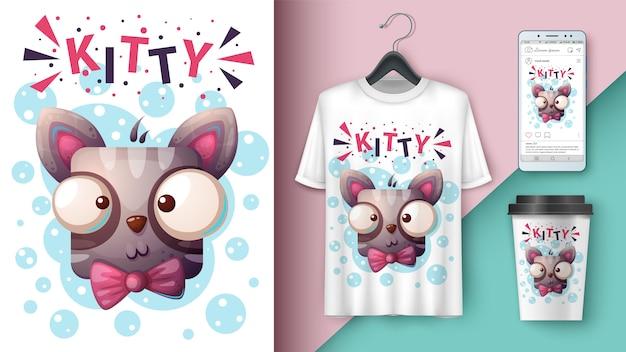 Cute cat, kitty illustration