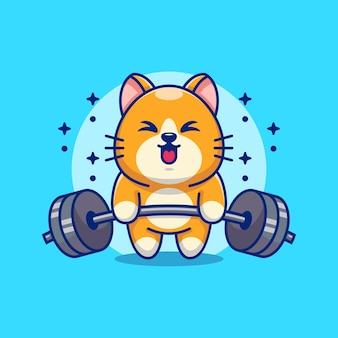 Cute cat lifting weights cartoon