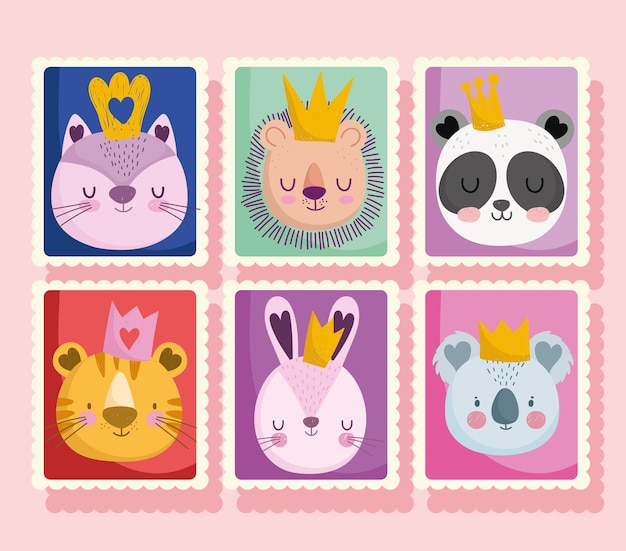 Cute cat lion panda rabbit tiger with crowns animals, cartoon post stamp collection