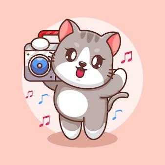 Милый кот слушает музыку с мультяшным бумбоксом