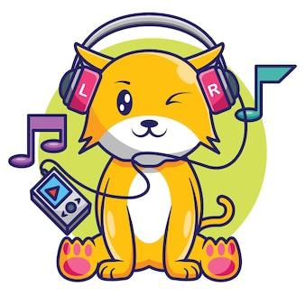 ヘッドフォンの漫画のデザインで音楽を聴くかわいい猫