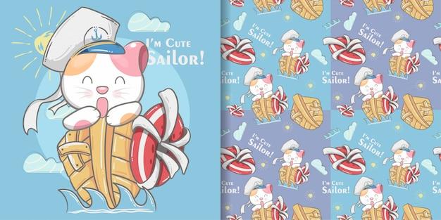 かわいい猫小さな船乗りのシームレスなパターンとイラストカード