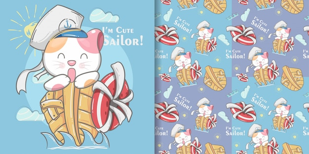 Cute cat little sailor seamless pattern and illustration card