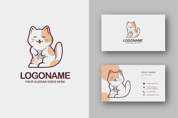 Cute cat logo and business card