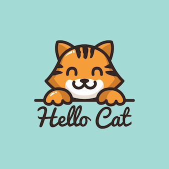 Cute cat logo cartoon character smile face with paw pet shop