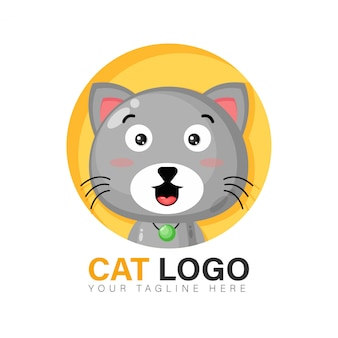 Cute cat logo design