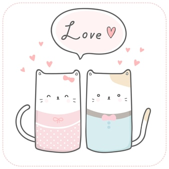 Cute cat lover couple romantic cartoon doodle