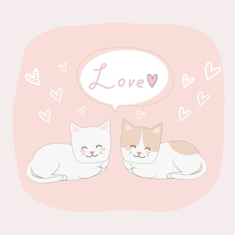 Cute cat lover couple with love sign doodle cartoon