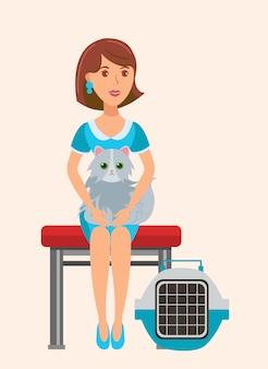 Cute cat lover sitting on bench flat illustration