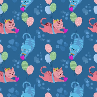 Cute cat lovers with heart shape seamless pattern.