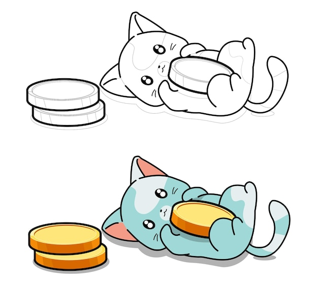 Cute cat loves coins coloring page for kids