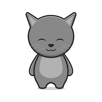 かわいい猫のマスコット漫画アイコンベクトルイラスト。孤立したフラット漫画スタイルをデザインする