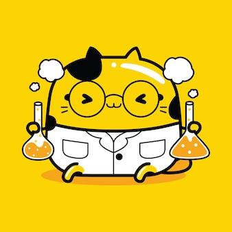Cute cat mascot character chemist profession in flat cartoon style