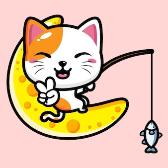 귀여운 고양이 마스코트 디자인 프리미엄 벡터