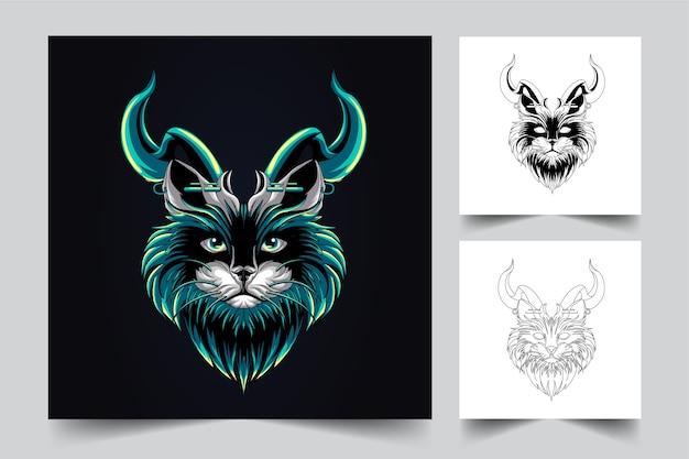 Cute cat mascot logo