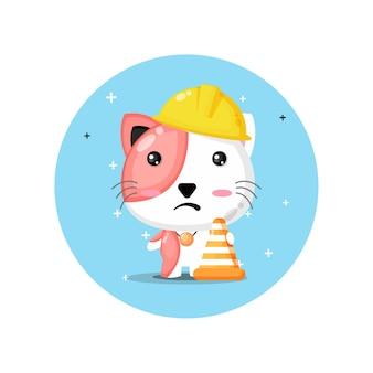 건설에서 작동하는 귀여운 고양이 마스코트
