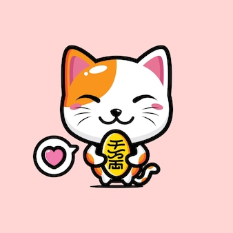 かわいい猫のマスコット Premiumベクター