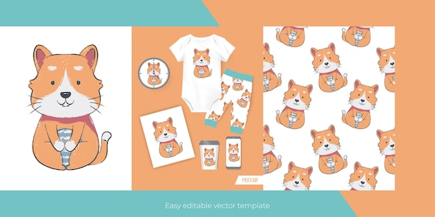 Cute cat for merch and seamless pattern