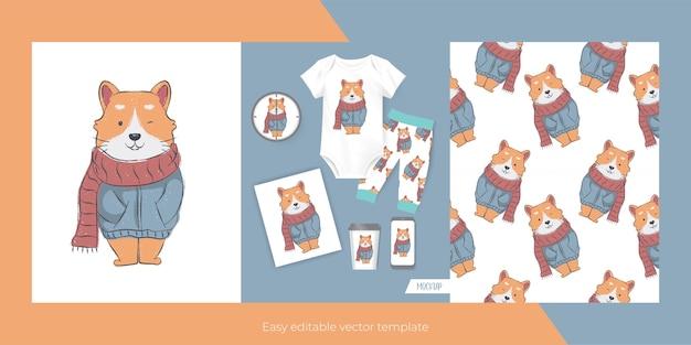 Simpatico gatto per merchandising e seamless