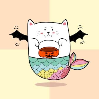Cute cat mermaid in bat costumes  for halloween day