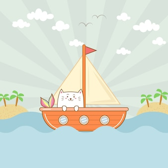 Cute cat mermaid on the boat