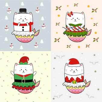 Cute cat mermaid collection for christmas