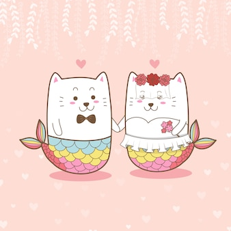 Cute cat mermaid couple wedding cartoon for valentine's day