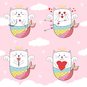 Cute cat mermaid cupid for valentine's day.