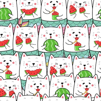 Cute cat mermaid eating water melon seamless pattern
