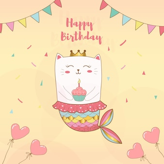 Cute cat mermaid happy birthday card with pastel colors background