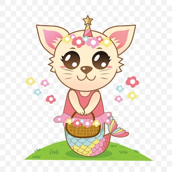 Cute cat mermaid holding a flowers basket