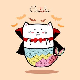 Милая кошачья русалка в костюмах дракулы в день хэллоуина