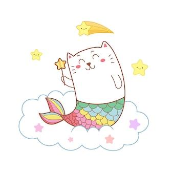 별과 구름에 귀여운 고양이 인어.
