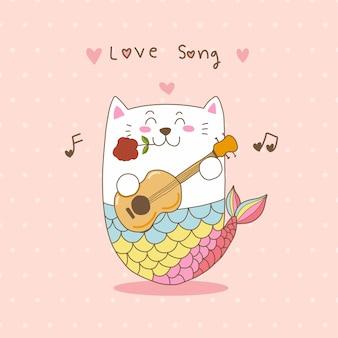 기타 사랑 노래를 재생하는 귀여운 고양이 인어