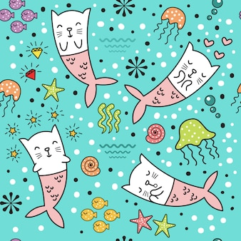 Cute cat mermaid seamless pattern