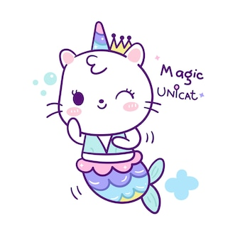 Cute cat mermaid in unicorn cartoon doodle style