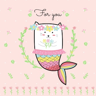 Cute cat mermaid with flower and pink background