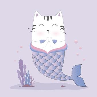 Cute cat mermaid
