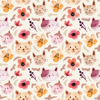 Cute cat and mini floral watercolor seamless pattern