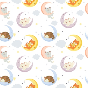 Cute cat on the moon with clouds and dots pattern