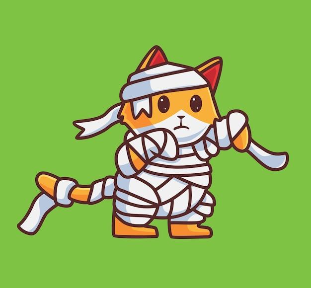 귀여운 고양이 미라. 격리 된 만화 동물 할로윈 그림입니다. 스티커 아이콘 디자인 프리미엄 로고 벡터에 적합한 플랫 스타일. 마스코트 캐릭터