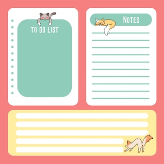 Cute cat note pad back to school to do list cartoon drawing notes