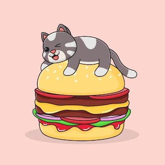 ハンバーガーの上にかわいい猫