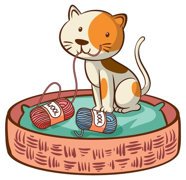 白地にかわいい猫