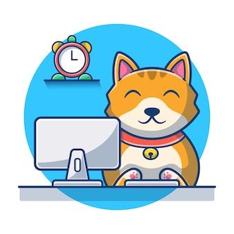 Милый кот операционного компьютера мультфильм. кошка значок мультфильм концепции. иллюстрация животных. плоский мультяшном стиле
