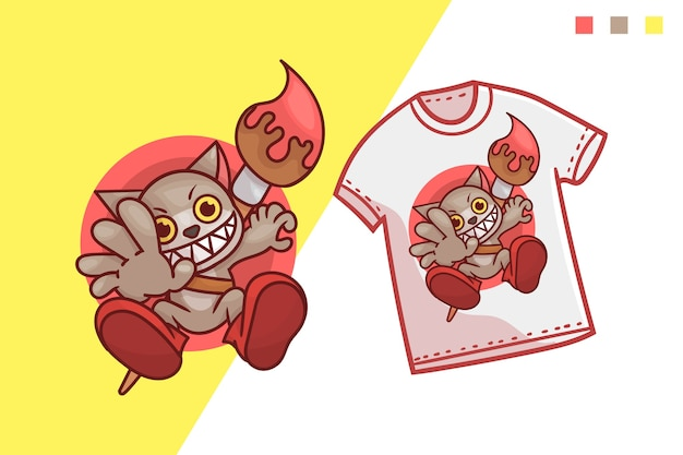 Cute cat paint tshirt template design