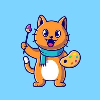 Pittore sveglio del gatto che tiene l'illustrazione dell'icona di vettore del fumetto della tavolozza e della spazzola di colore. animale arte icona concetto vettore isolato. stile cartone animato piatto