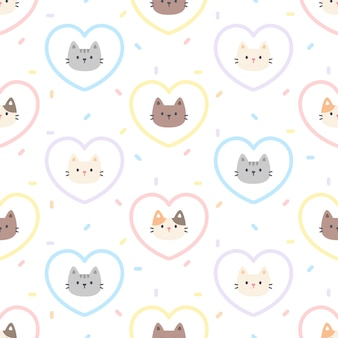Cute cat pastel heart seamless   pattern
