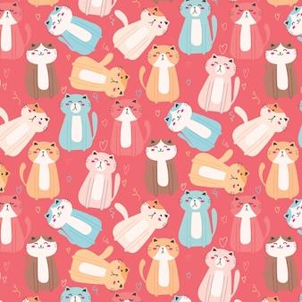 かわいい猫のパターンの背景。